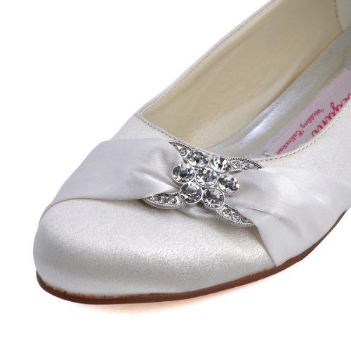 Bequeme flache Brautschuhe Ballerinas   Ivory - 6