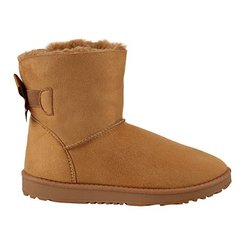 Warm Gefütterte Damen Stiefel Schlupfstiefel Boots Stiefeletten Schuhe 130007 Braun Schleife 39 Flandell