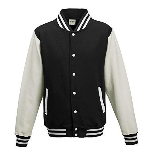 "Just Hoods - Giacca College ""Varsity Jacket"", unisex Jet Black/White M"