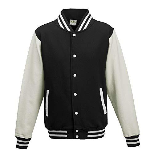 Just Hoods - Unisex College Jacke 'Varsity Jacket' BITTE DIE JH043 BESTELLEN! Gr. - XL - Jet Black/White