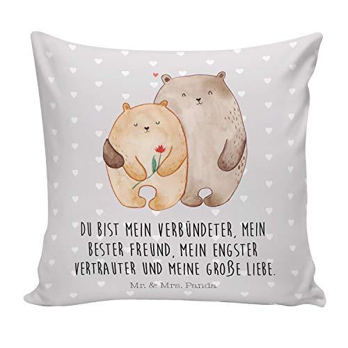 Mr. & Mrs. Panda Kissenhülle, Kissenbezug, 40x40 Kissen Bären Liebe mit Spruch - Farbe Grau Pastell