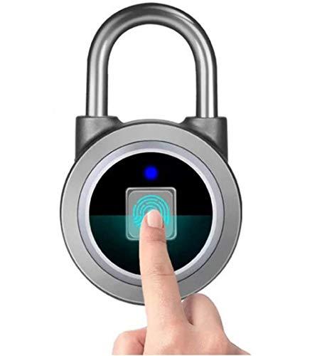 HLJ Anti-Diebstahl-Vorhängeschloss, Fingerabdruck Intelligente Keyless Wasserdichtes Bluetooth Lock-APP Control wasserdichte Sicherheit Vorhängeschloss Schwarz Tür Gepäckschloss