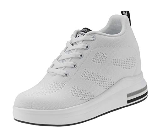 AONEGOLD® Zapatillas de Deporte Transpirables Zapatillas de Cuña para Mujer Alta Talón Plataforma 8cm Sneakers(Blanco,38 EU)