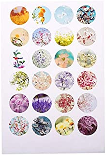 PH PandaHall 240pcs Scrapbooking Stickers Bottle Caps Non-Adhesive Paper Flower Stickers Collage Sheets for Clear Flat Round Glass Tile Cabochon Pendants 18mm