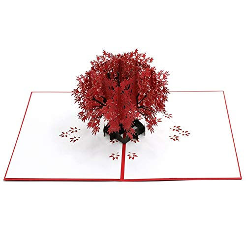Happy Will Maple Pop Up Card 3D Anniversary Card Birthday Greeting Card for Mom Wife Girlfriend for Thanksgiving Mothers Day(Red Maple Tree)
