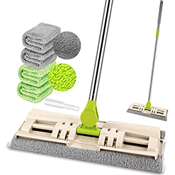 Microfiber Mop for Hardwood Floor Cleaning with 4 Washable Pads Dry/Wet Mops for Laminate/Tile Floor Cleaning Extended Handle Flat Mop with 1 Dirt Removal Scrubber Included