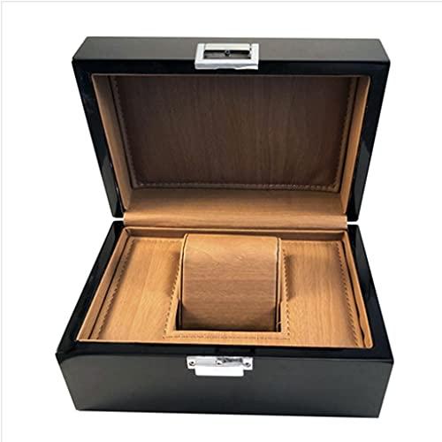 QIFFIY Joyero Negro, PU Caja de Almacenamiento de la Caja de Reloj de Cuero, la pequeña Caja de Reloj para Viajar Puede usarse como un Regalo de 19.5 * 13.5 * 9,5 cm (Color : Black)