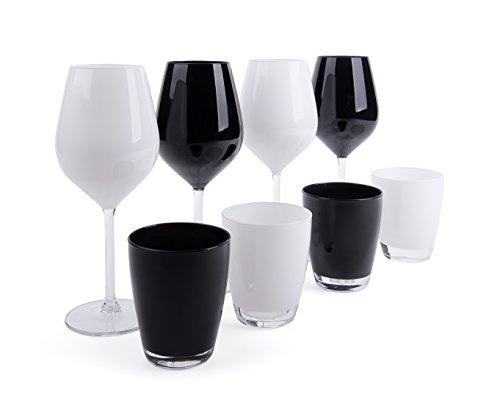Excelsa Color Wine Set Calici e Bicchieri, Vetro, Bianco e Nero, 8 Unità