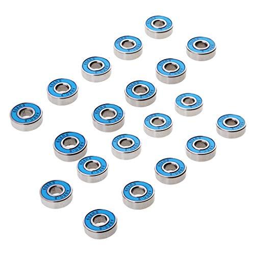B Baosity 20pc 608RS (8x22x7 Mm) Rodamiento de Bolas Híbrido ABEC-9 Rodamientos Azul