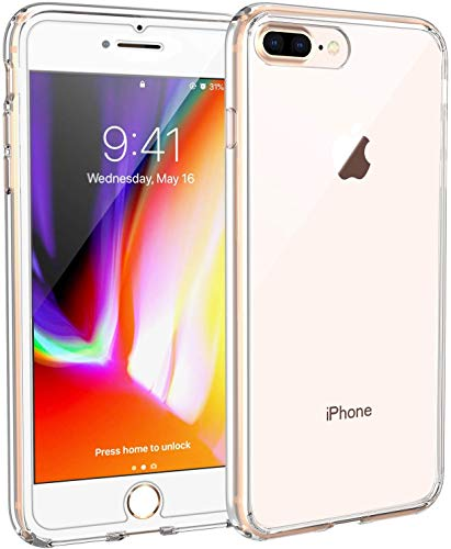 Syncwire Coque Compatible avec iPhone 8 Plus / 7 Plus - Transparente Housse de Protection en Rigide Silicone Étuis Antichoc - Transparent