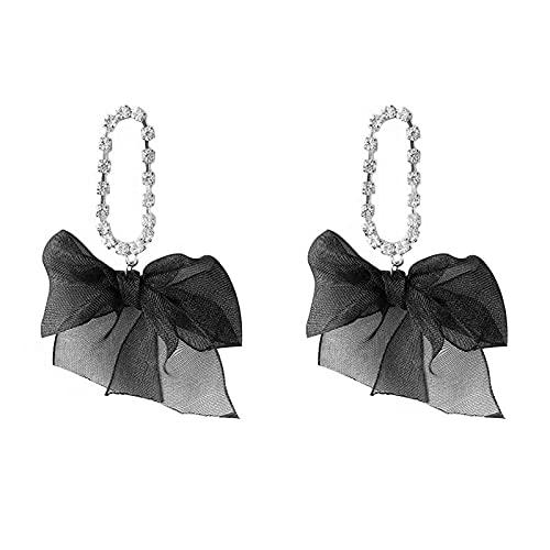S925 Aguja de plata Diamante Terciopelo Arco Pendientes de personalidad Temperamento Chica Corazón Pendientes de botón Pendientes de moda Pendientes B