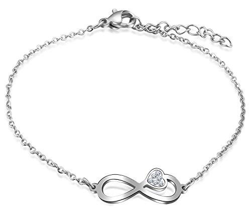 Feilok Simplicity - Pulsera de abalorios con símbolo de infinito con corazón entrelazado de acero inoxidable para mujer, cadena de mano con extensor ajustable, color blanco