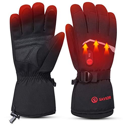 day wolf 7.4 V 2200 MAH Guanti riscaldati a batteria elettrici, guanti da sci per uomo donna inverno sport all'aperto (nero grigio chiaro, L)