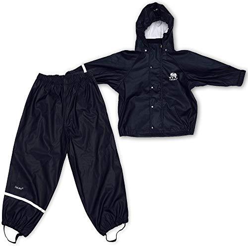 Celavi Kinder Unisex Regen Anzug, Jacke und Hose, Alter 4-5 Jahre, Schwarz(1145), 110