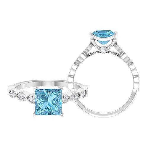 Anillo de diamante negro creado en laboratorio de 1,95 quilates, D-VSSI Moissanite Gold Anillo, anillo de compromiso de 7 mm de corte princesa, 14K White Gold, Lab Created Black Diamond, Size:US 70