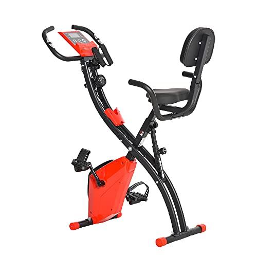 HOMCOM Bicicleta Estática Plegable con Altura y Resistencia Magnética Ajustables con Pantalla LCD y Asiento con Respaldo 97x51x115 cm Rojo