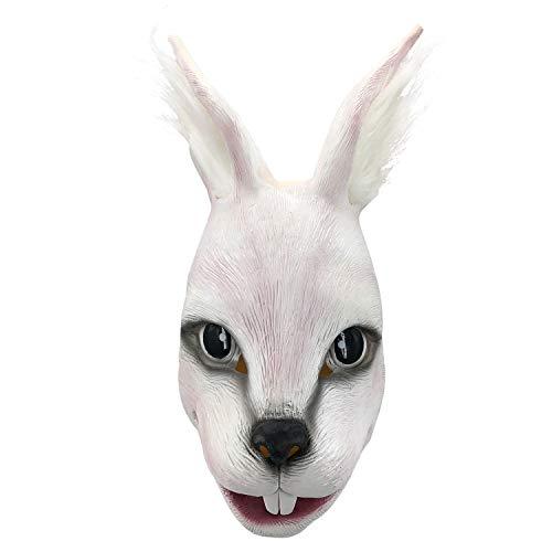 Cute Rabbit Mask,Halloween Latex Animal Head Mask Props White