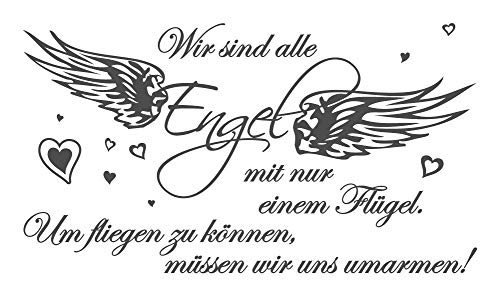 dekodino® Wandtattoo Spruch Liebe Wir sind alle Engel Schlafzimmer Wanddeko