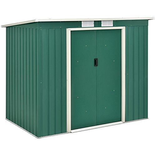 Juskys Metall-Gerätehaus M mit Pultdach, Schiebetür & Fundament | 4 m³ | klein | grün | Stahl Geräteschuppen Gartenhaus Schuppen