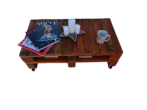 Dydaya Mesa de Centro Baja de Madera de Pallet Pintada en Color Cerezo Tomar Cafe, Soporte de TV, Escritorio, Muebles con Palets (Cerezo)