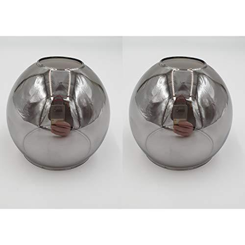 Set Ersatzschirm E14 LED geeignet Lampenschirm rauchfarbig Ersatzglas smoke Lampe Pendellampe Nachttischleuchte Deckenstrahler Lampenglas (2Stk. rauchfarbig)