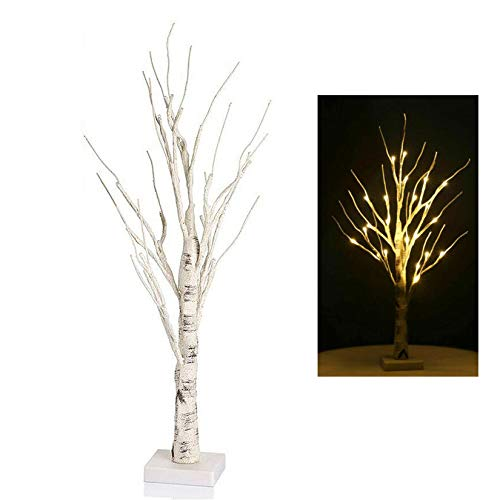 NMTUHAO Lighted Mini Birch Twig Tree Ornament, 24 Warm White LEDs Photo Display Tree 23', LEDs Battery Operated Tree Lamp Tabletop Decoration for Xmas Easter Home Party Wedding (White, 23.6inch)