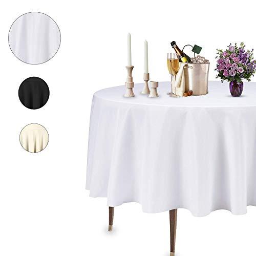 Trimming Shop Circular Mantel Circular Mesa Lino para Boda Decoración,Banquetes,Cumpleaños Navidad,Corporativo Fiestas Eventos, 108 Inches - Pack of 1, Blanco