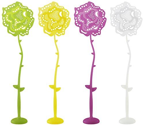 FACKELMANN Fliegenklatsche Rose mit Fuß Tecno, Insektenschutz mit Standfuß (Farbe: Gelb, Grün, Lila, Weiß - Nicht frei wählbar), Menge: 1 Stück