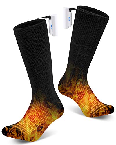 YaNovate Heated Socks Winter Electric Rechargeable 3 Heating Settings Thermal Feet Socks for Men & Women for Winter Outdoor Hunting Driving Camping Riding Battery Powered Warm Winter Foot Sock