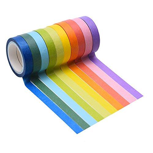 Mudder Cinta Adhesiva Decorativa, 10 Rollos Washi de Cinta Adhesivo Papel Cinta para Artesanía DIY