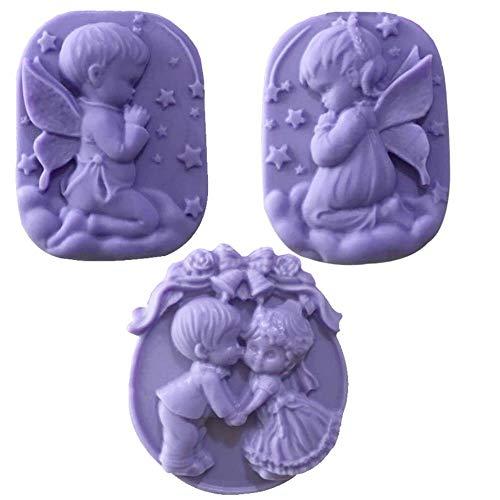 1pcs ange fleur 3D résine argile moules en silicone bricolage savon savon moule moule de gel de silice Ice Cube bonbons au chocolat gâteau, savon ovale