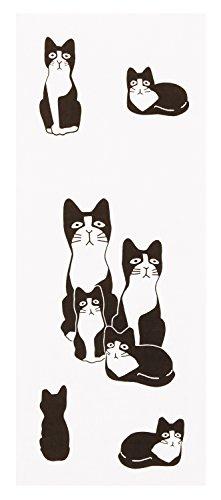 ひだまりのら 手ぬぐい 夢次郎 黒白 猫 フェイスタオル 手作り 90×33cm