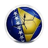 Shui Moderne dekorative runde Wanduhr Bosnien-Herzegowina-Flagge auf Fußball-Batterie betrieben 9,8 '