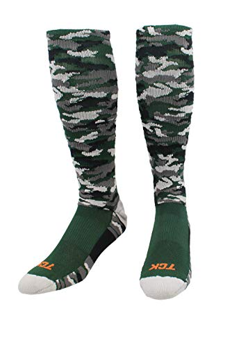 TCK Sports Elite Performance Over The Calf Camo Socks (Dark Green Camo, Medium)