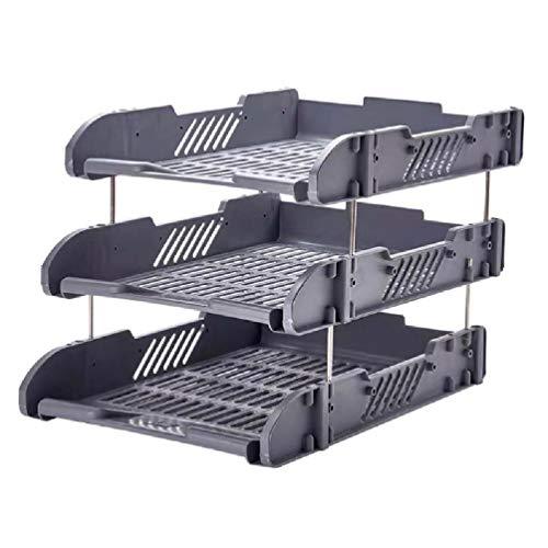Ydh - Organizador de 3 capas de plástico grueso para escritorio, estantería de escritorio, estante de almacenamiento, estante y caja