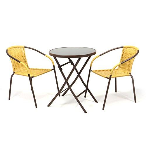 Nexos Bistroset Balkonset Rattanset – Sitzgarnitur aus Glastisch & Bistrostuhl – Stahlgestell Polyrattan Glasplatte – robust stapelbar – beige
