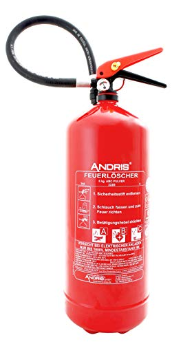 Feuerlöscher Orig. ANDRIS® 6kg ABC Pulverlöscher mit Manometer, mit 10LE leistungsstärker, EN 3 inkl. Wandhalterung & Orig. ANDRIS® Prüfnachweis mit Jahresmarke