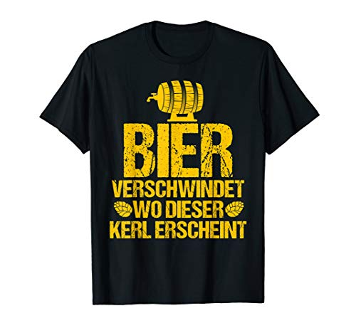 Herren Bier verschwindet wo dieser Kerl erscheint - Lustig Bier T-Shirt