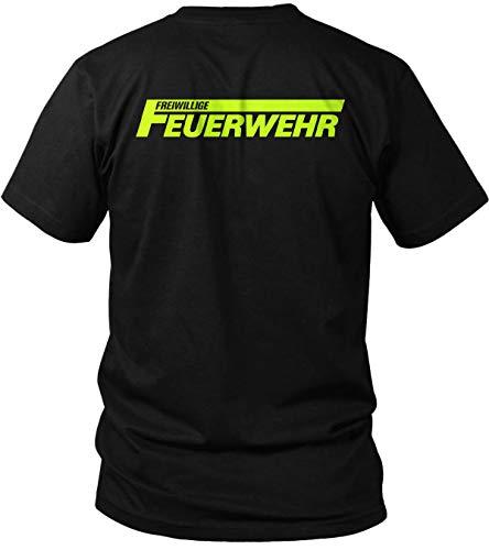 Freiwillige Feuerwehr - Brust & Rücken Aufdruck - Herren T-Shirt und Männer Tshirt, Farbe:Schwarz, Größe:M