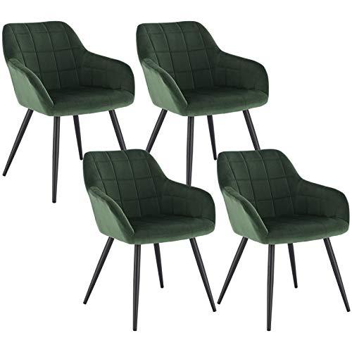 WOLTU 4 x Esszimmerstühle 4er Set Esszimmerstuhl Küchenstuhl Polsterstuhl Design Stuhl mit Armlehne, mit Sitzfläche aus Samt, Gestell aus Metall, Dunkelgrün, BH93dgn-4