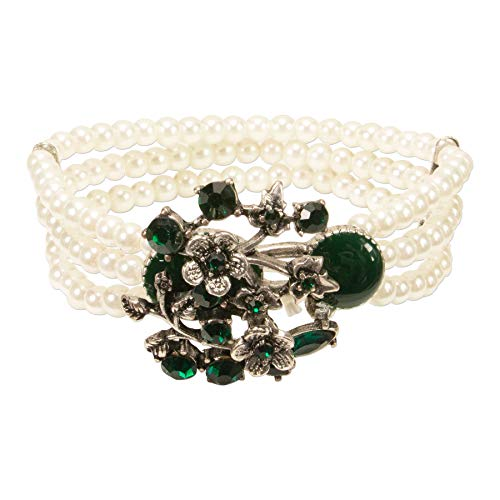 Alpenflüstern Perlen-Trachten-Armband Theresa - elastisches Trachten-Armband mit floralen Mittelstück, nostalgischer Damen-Trachtenschmuck, Perlenarmband grün DAB063
