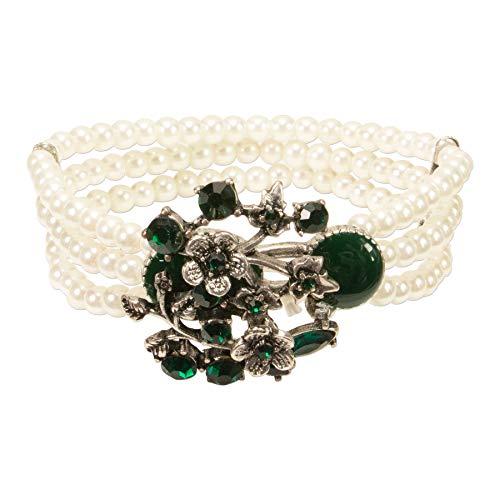 Alpenflüstern Perlen-Trachten-Armband Theresa - elastisches Trachten-Armband mit floralen Mittelstück, Damen-Trachtenschmuck, Perlenarmband grün DAB063