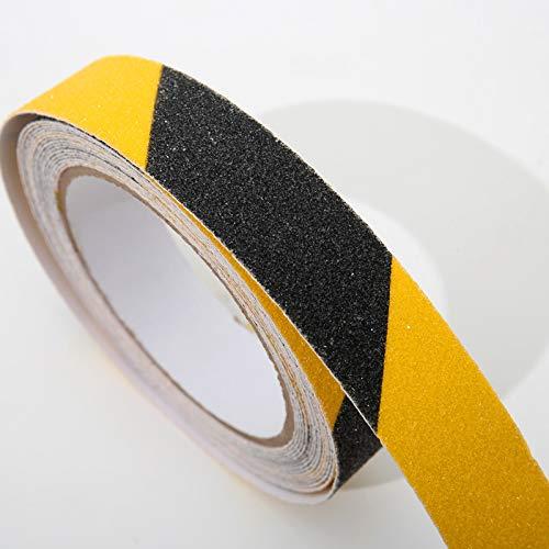 Nastro antiscivolo per trazione ad alta trazione, abrasivo non facile lasciare residui adesivi interni ed esterni, 2,5 cm x 10 m (Nero e Giallo)