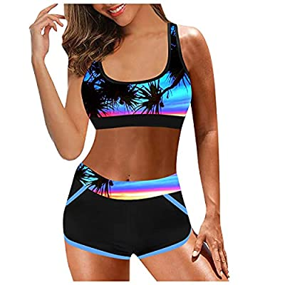 Dreamyth Sport Swimsuit for Women,2 Pieces High Waisted Push up Bikini Swimsuits Plus Size Tummy Control Bathing Suits