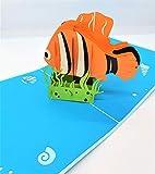 Tarjeta de cumpleaños emergente 3D hecha a mano Nemo mar océano peces submarinos papercraft corte láser origami kirigami inicio inauguración de la casa amigo pareja amor