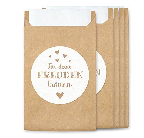KuschelICH Freudentränen Hüllen & Aufkleber - Tüten für Vintage Hochzeit Taschentücher - umweltfreundlich (100 STK, Freudentränen)