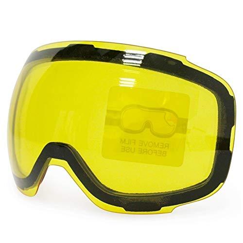 No brand Occhiali da Sci Originale GOG-2181 Lens Giallo Graced Lente Magnetica for Occhiali da Sci antinebbia UV400 sferica Sci Occhiali Sci Notturno Lens (Colore : Yellow, Size : 21cm)