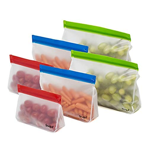 Goodful Reusable Stand Up Storage, Leakproof Zip Closure Bag for Food, Home Organization, Small, Medium, Large, Multicolor