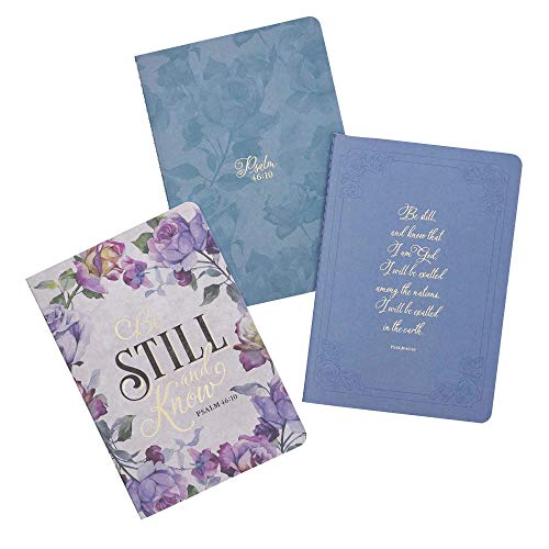 Christian Art Gifts Floral Purple Notebook Set Be Still and Know Psalm 46:10 Bible Verse