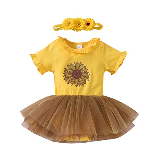 Tianhaik Baby Pasgeboren Baby Meisje Romper Jurk Zonnebloem Mesh Jurk + Hoofdband voor 0-18 Maanden
